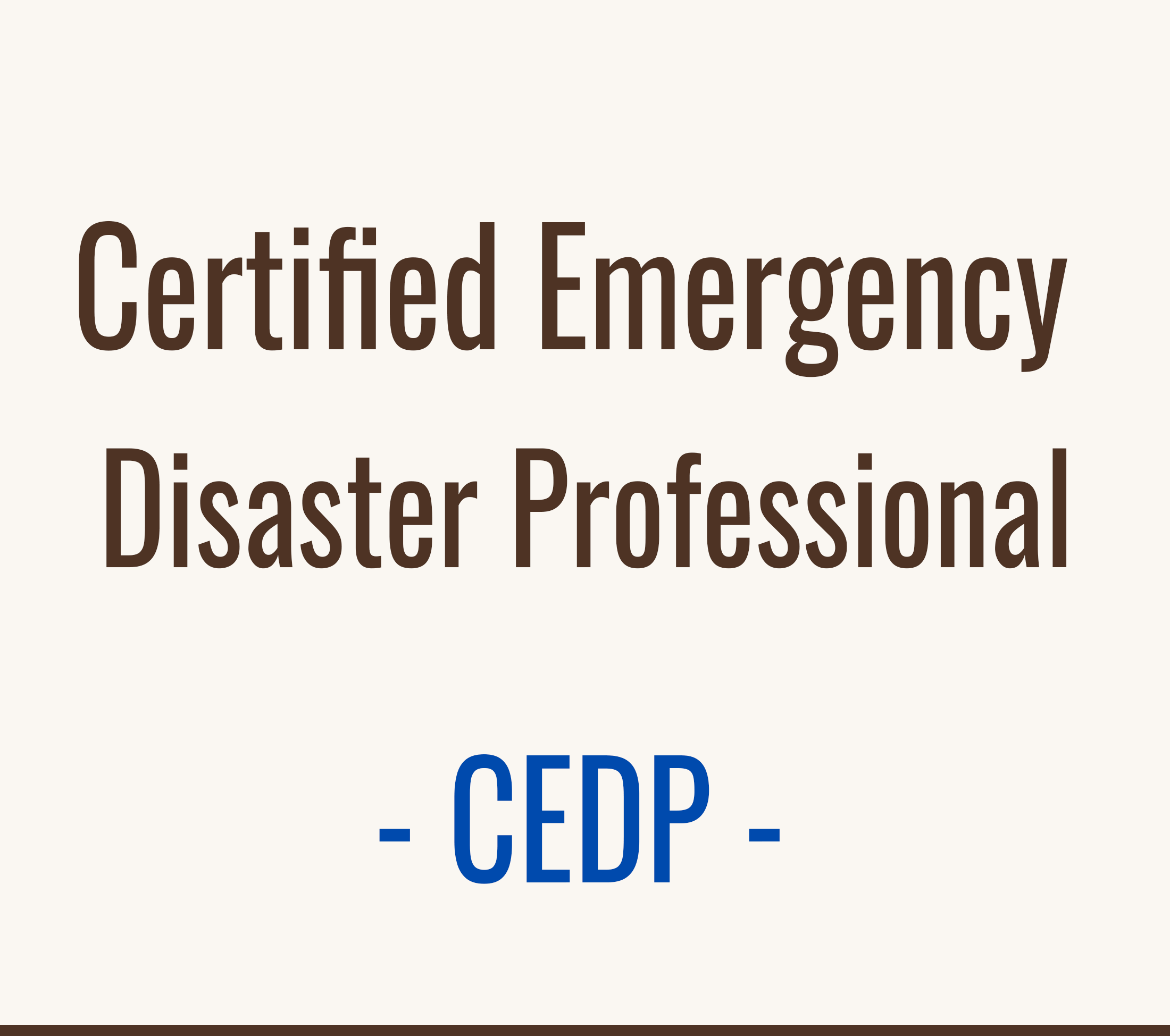 Certified Emergency Disaster Professional